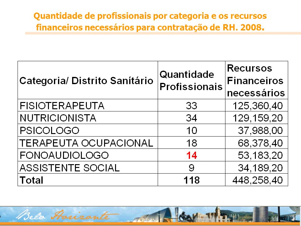 Quantidade de profissionais por categoria e os recursos financeiros necessários para contratação de RH. 2008.
