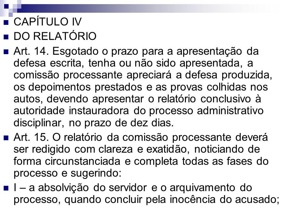 CAPÍTULO IV DO RELATÓRIO.