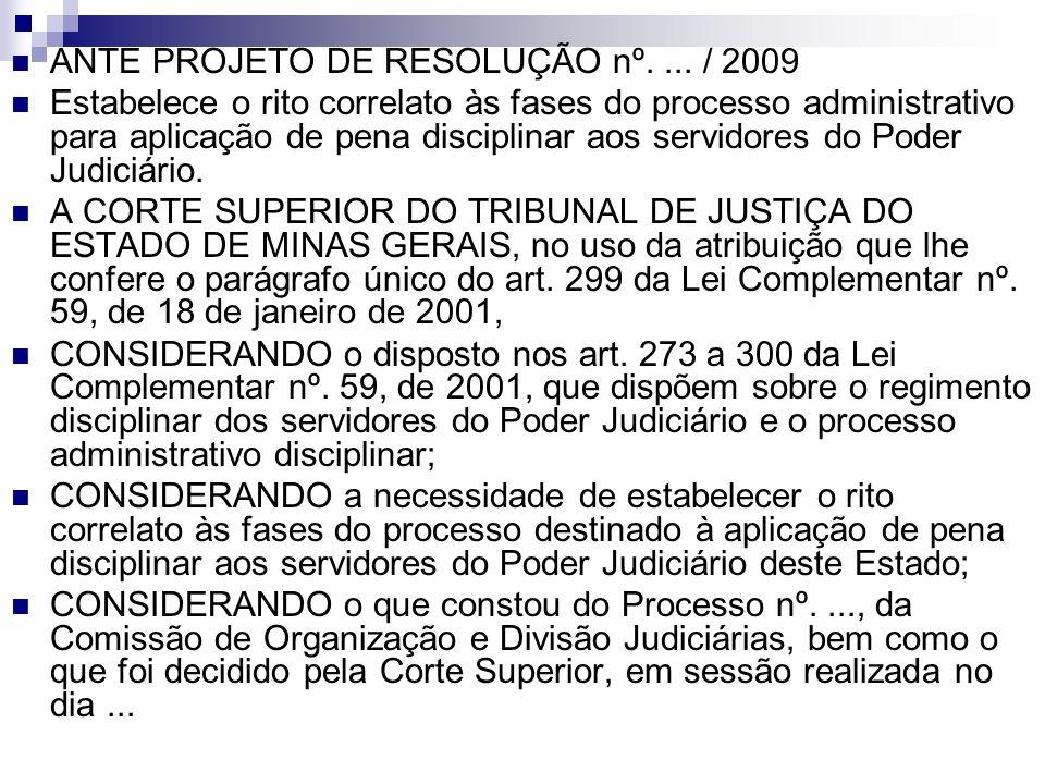 ANTE PROJETO DE RESOLUÇÃO nº. ... / 2009