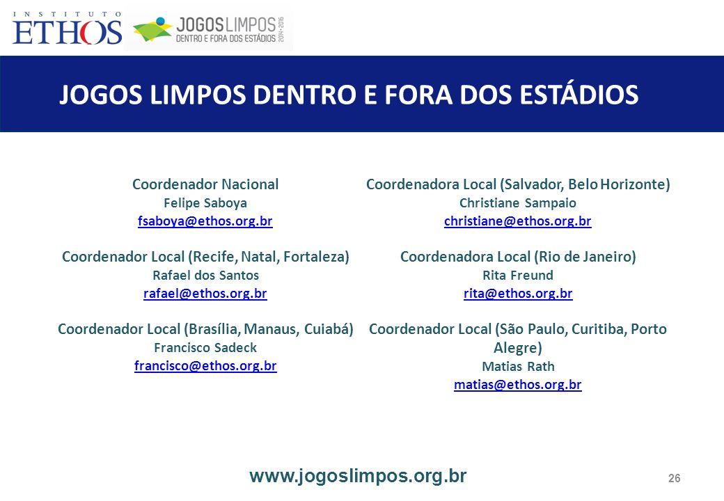 JOGOS LIMPOS DENTRO E FORA DOS ESTÁDIOS