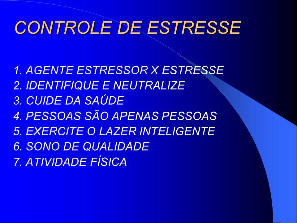 CONTROLE DE ESTRESSE 1. AGENTE ESTRESSOR X ESTRESSE