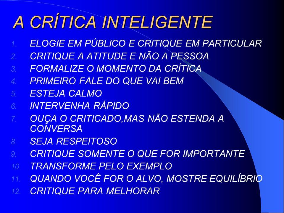 A CRÍTICA INTELIGENTE ELOGIE EM PÚBLICO E CRITIQUE EM PARTICULAR