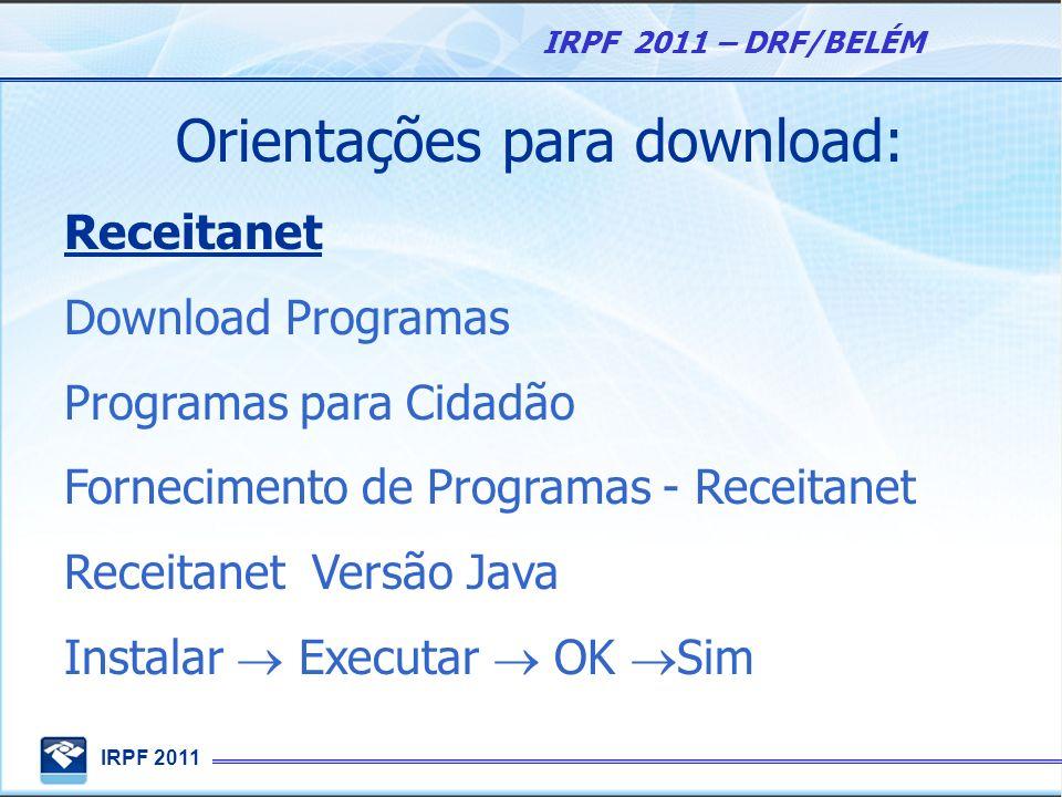 Orientações para download: