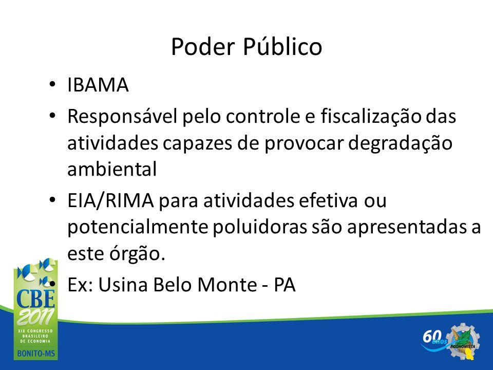 Poder Público IBAMA. Responsável pelo controle e fiscalização das atividades capazes de provocar degradação ambiental.