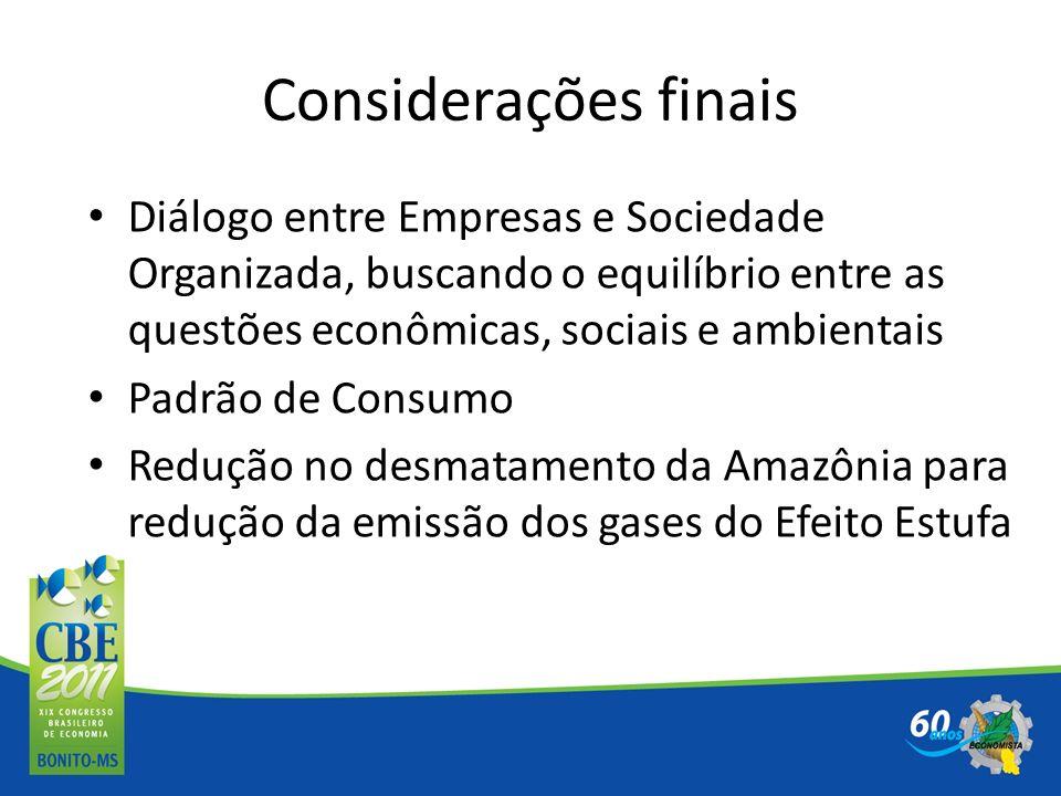 Considerações finais Diálogo entre Empresas e Sociedade Organizada, buscando o equilíbrio entre as questões econômicas, sociais e ambientais.