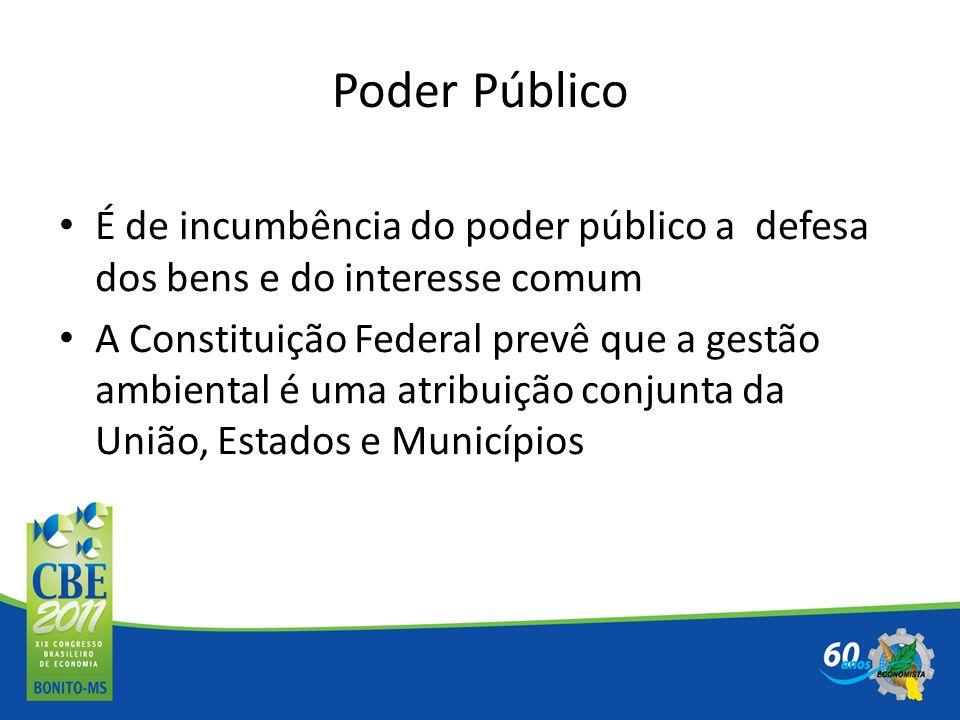 Poder Público É de incumbência do poder público a defesa dos bens e do interesse comum.