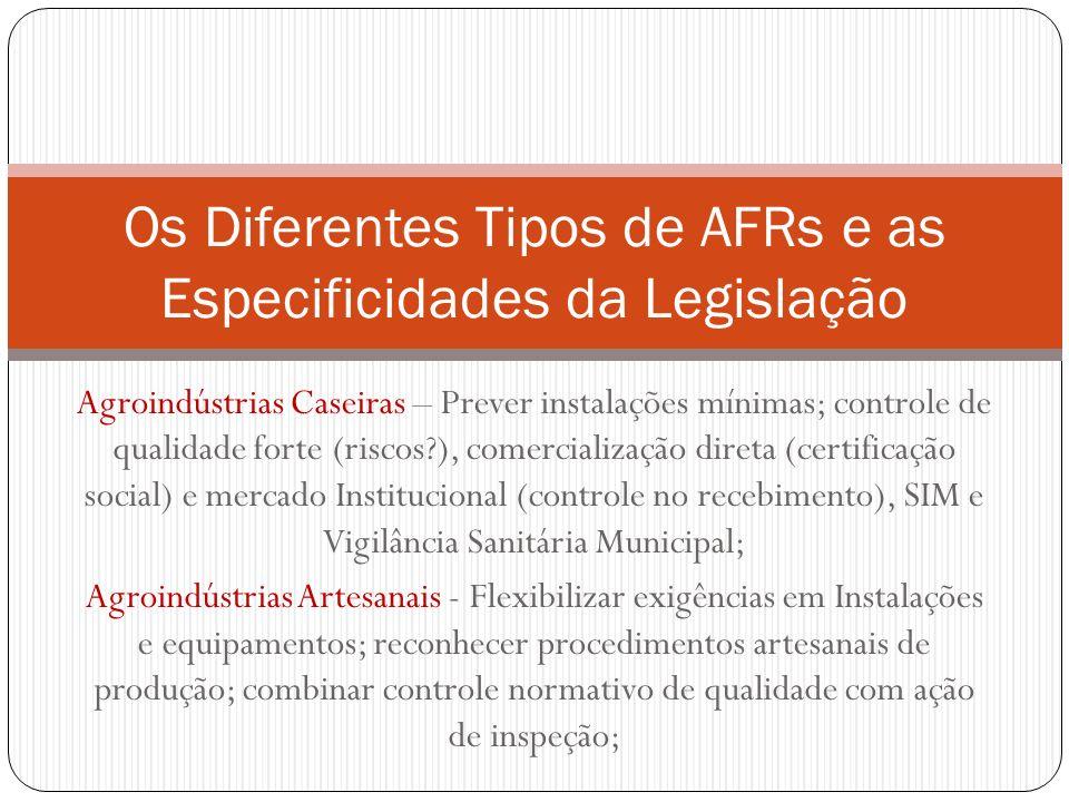 Os Diferentes Tipos de AFRs e as Especificidades da Legislação