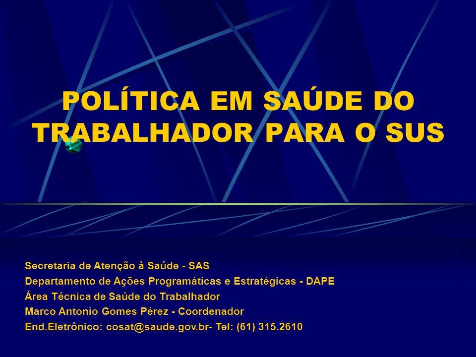 POLÍTICA EM SAÚDE DO TRABALHADOR PARA O SUS