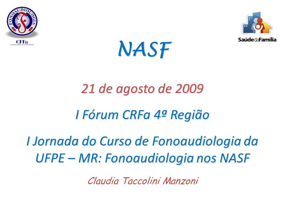 NASF 21 de agosto de 2009 I Fórum CRFa 4ª Região I Jornada do Curso de Fonoaudiologia da UFPE – MR: Fonoaudiologia nos NASF Claudia Taccolini Manzoni