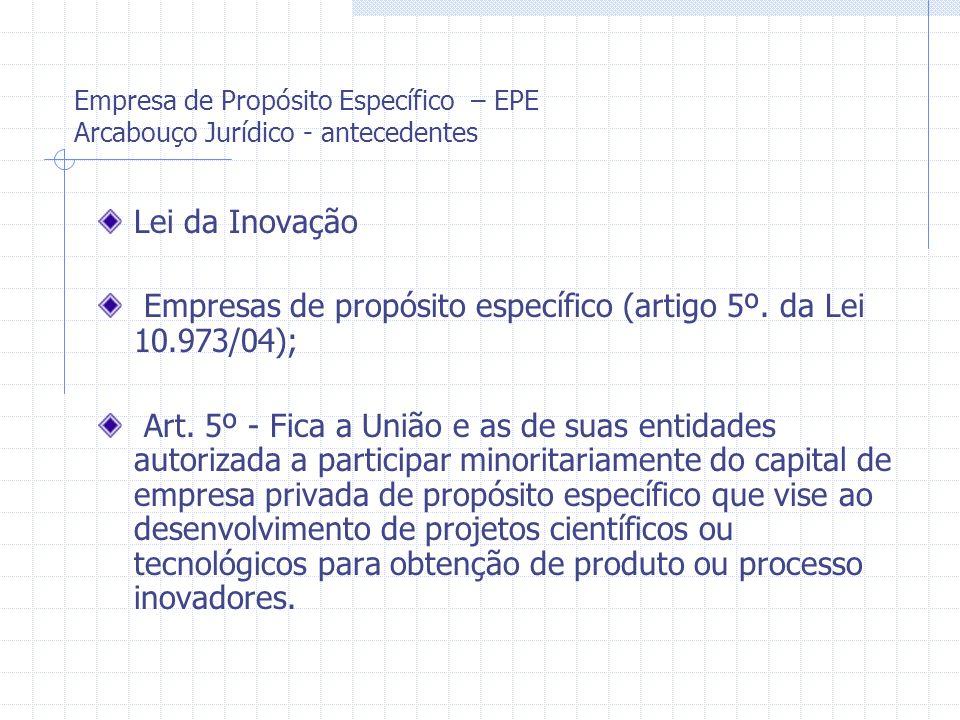 Empresas de propósito específico (artigo 5º. da Lei 10.973/04);