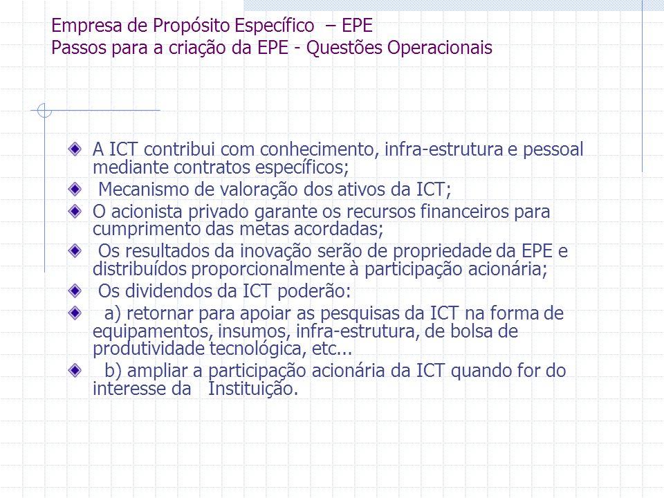 Empresa de Propósito Específico – EPE Passos para a criação da EPE - Questões Operacionais