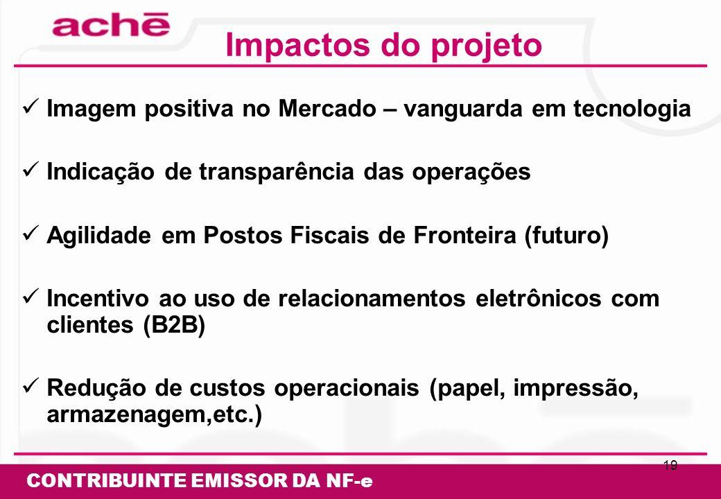Impactos do projeto Imagem positiva no Mercado – vanguarda em tecnologia. Indicação de transparência das operações.