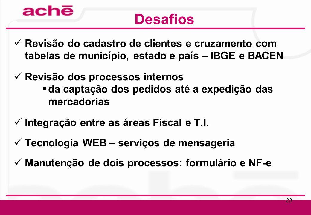 Desafios Revisão do cadastro de clientes e cruzamento com tabelas de município, estado e país – IBGE e BACEN.
