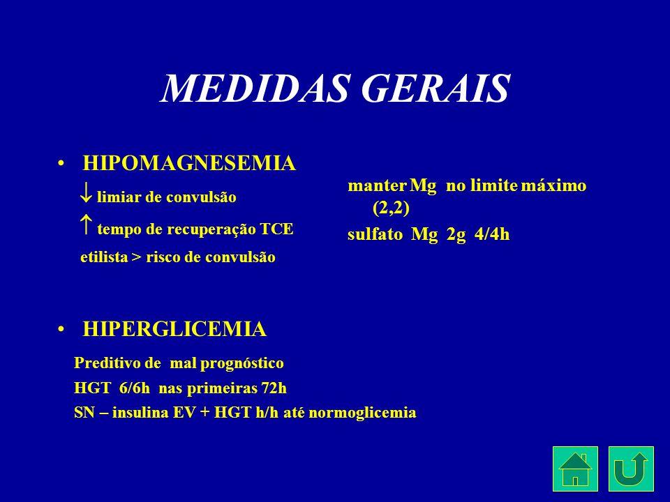 MEDIDAS GERAIS HIPOMAGNESEMIA  limiar de convulsão