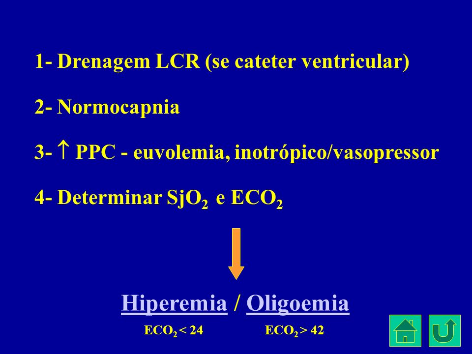 Hiperemia / Oligoemia 1- Drenagem LCR (se cateter ventricular)