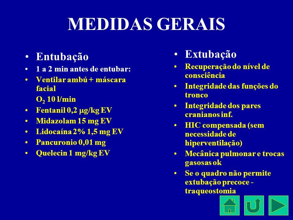 MEDIDAS GERAIS Extubação Entubação Recuperação do nível de consciência