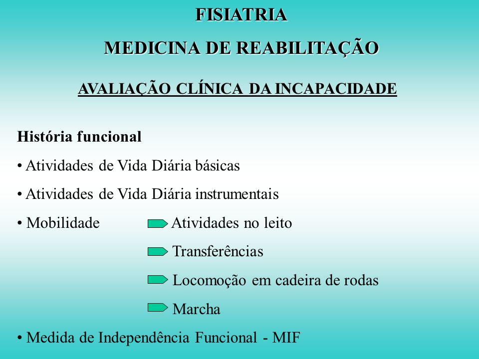 AVALIAÇÃO CLÍNICA DA INCAPACIDADE