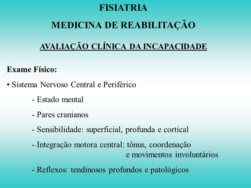 MEDICINA DE REABILITAÇÃO AVALIAÇÃO CLÍNICA DA INCAPACIDADE