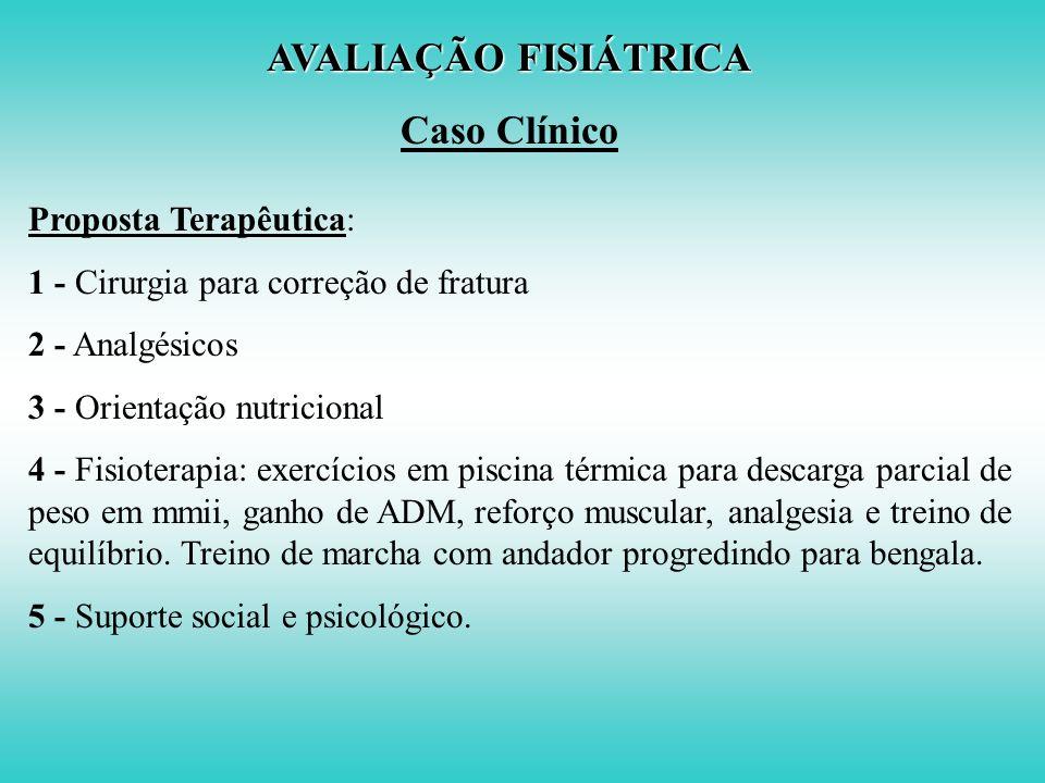 AVALIAÇÃO FISIÁTRICA Caso Clínico Proposta Terapêutica: