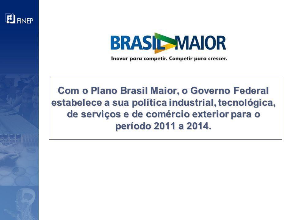Com o Plano Brasil Maior, o Governo Federal estabelece a sua política industrial, tecnológica, de serviços e de comércio exterior para o período 2011 a 2014.