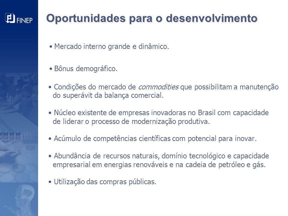 Oportunidades para o desenvolvimento • Mercado interno grande e dinâmico.