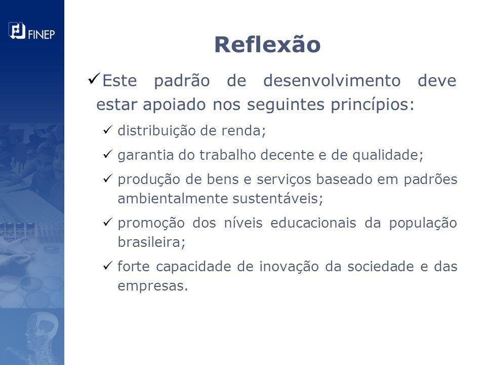 Reflexão Este padrão de desenvolvimento deve estar apoiado nos seguintes princípios: distribuição de renda;