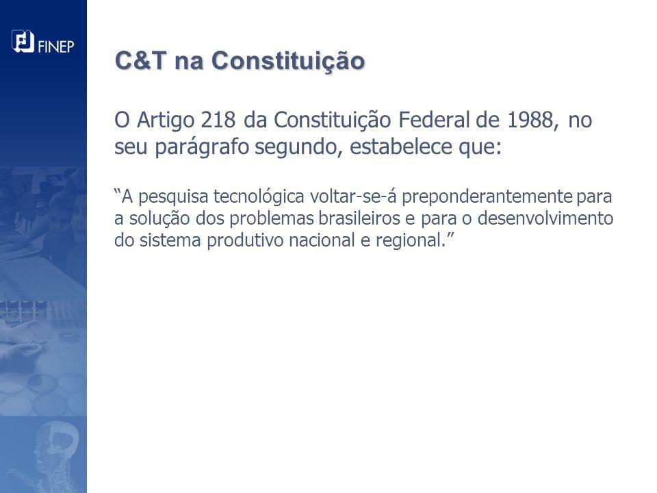 C&T na Constituição O Artigo 218 da Constituição Federal de 1988, no seu parágrafo segundo, estabelece que: A pesquisa tecnológica voltar-se-á preponderantemente para a solução dos problemas brasileiros e para o desenvolvimento do sistema produtivo nacional e regional.