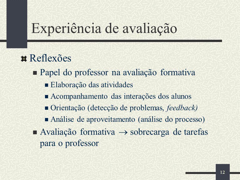 Experiência de avaliação