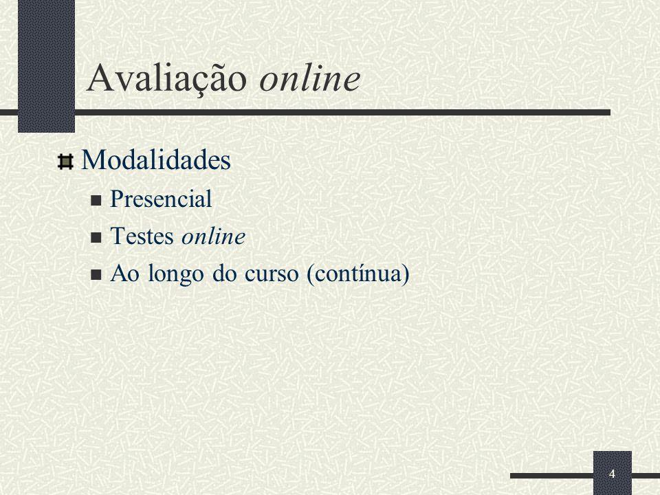 Avaliação online Modalidades Presencial Testes online