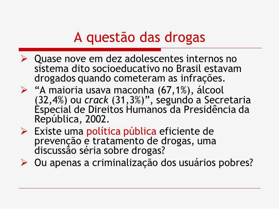 A questão das drogas Quase nove em dez adolescentes internos no sistema dito socioeducativo no Brasil estavam drogados quando cometeram as infrações.