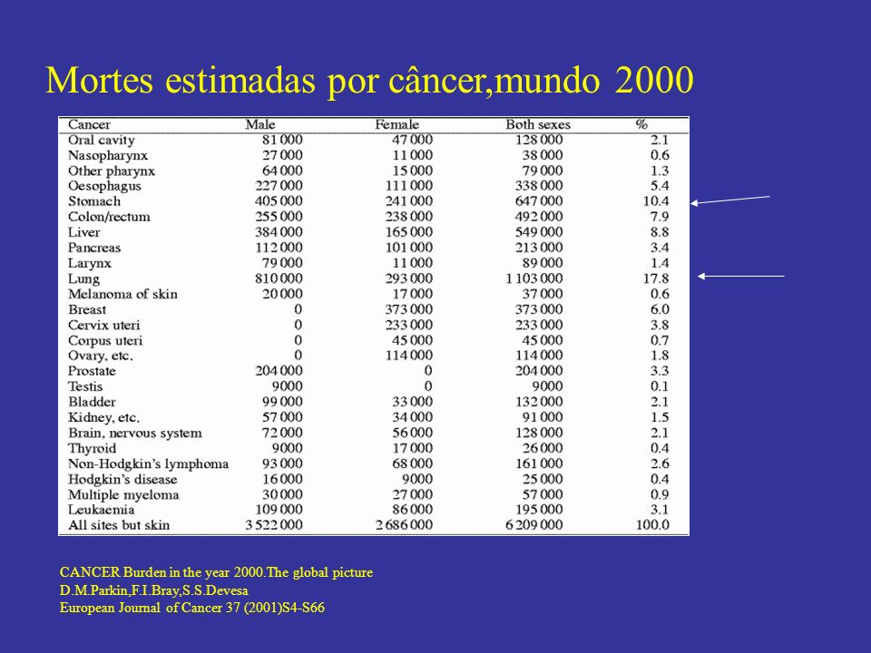 Mortes estimadas por câncer,mundo 2000