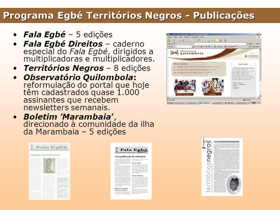 Programa Egbé Territórios Negros - Publicações