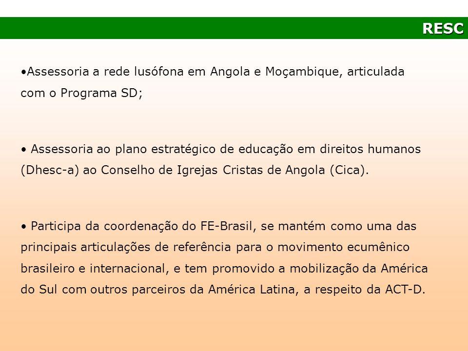 RESC Assessoria a rede lusófona em Angola e Moçambique, articulada com o Programa SD;