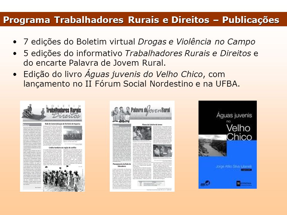 Programa Trabalhadores Rurais e Direitos – Publicações