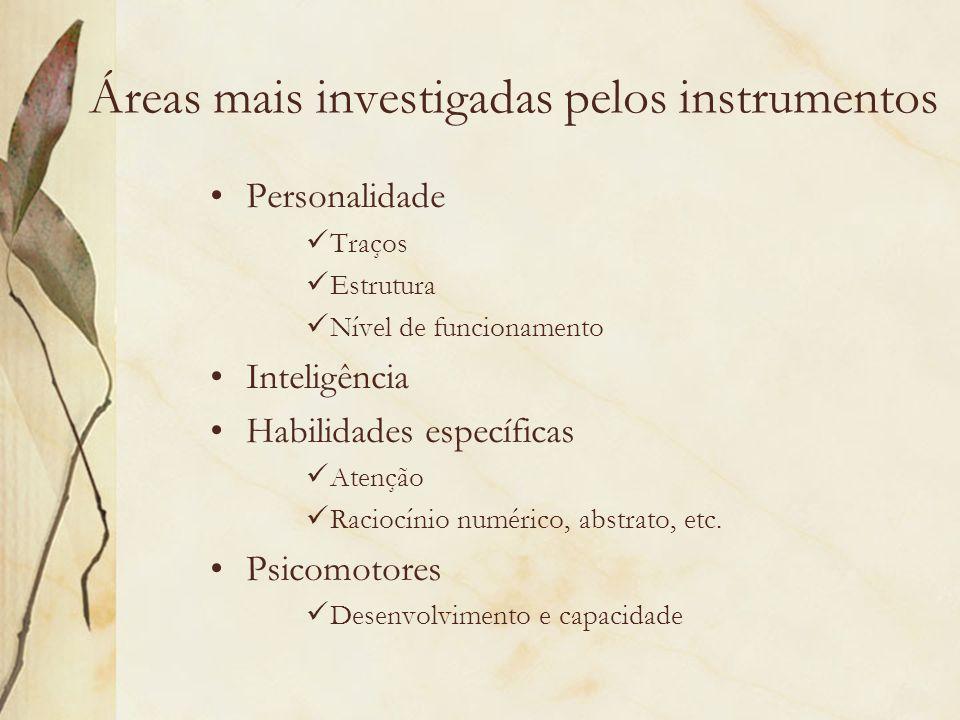 Áreas mais investigadas pelos instrumentos