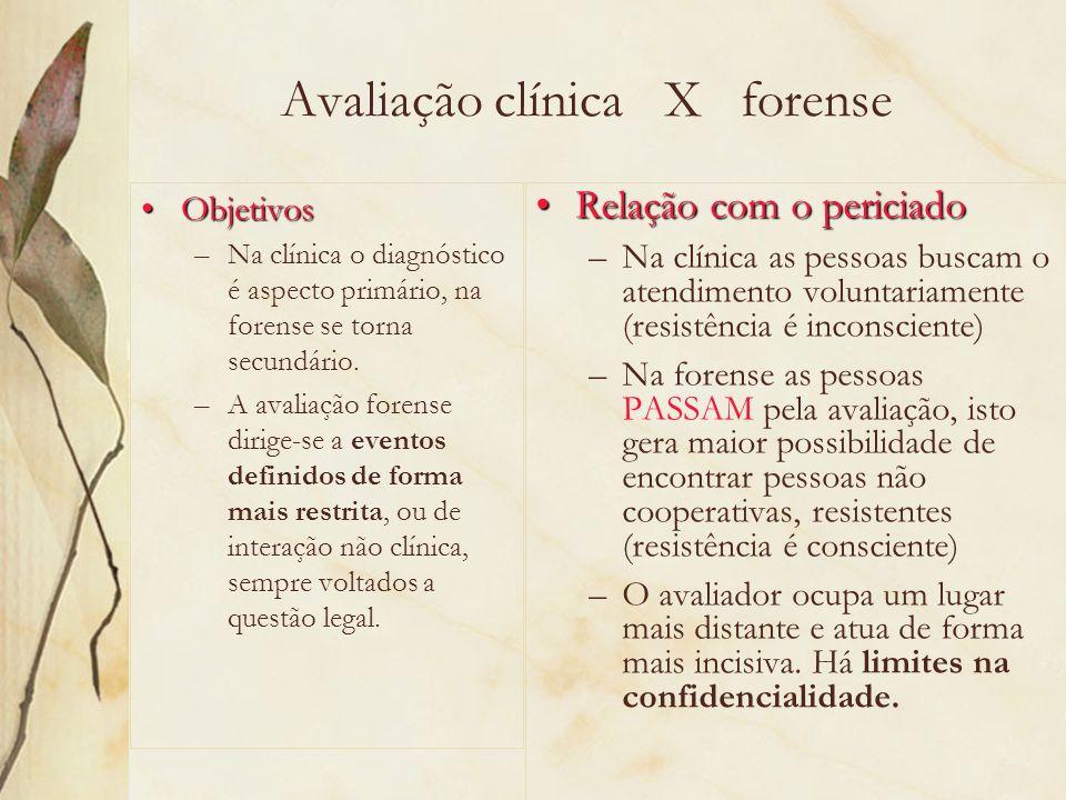 Avaliação clínica X forense