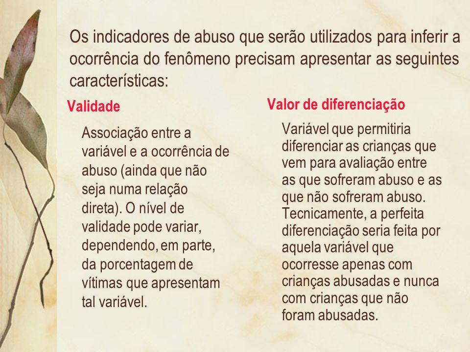 Os indicadores de abuso que serão utilizados para inferir a ocorrência do fenômeno precisam apresentar as seguintes características: