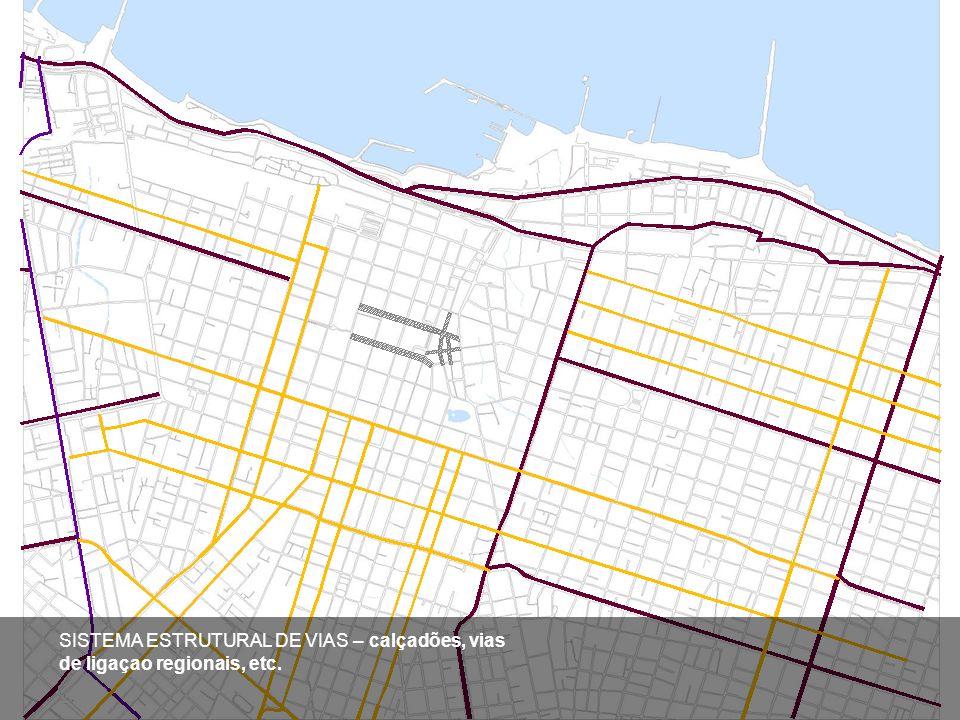 SISTEMA ESTRUTURAL DE VIAS – calçadões, vias de ligaçao regionais, etc.