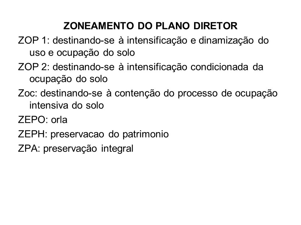 ZONEAMENTO DO PLANO DIRETOR