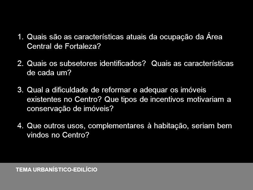 Quais são as características atuais da ocupação da Área Central de Fortaleza