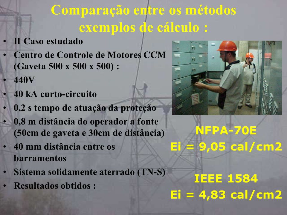 Comparação entre os métodos exemplos de cálculo :