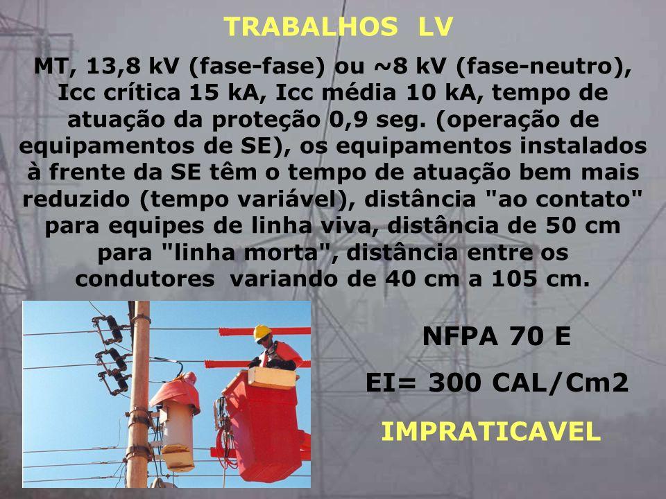 TRABALHOS LV NFPA 70 E EI= 300 CAL/Cm2 IMPRATICAVEL
