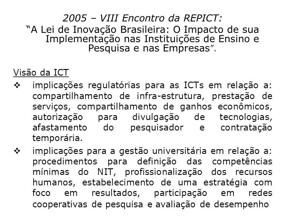 2005 – VIII Encontro da REPICT: