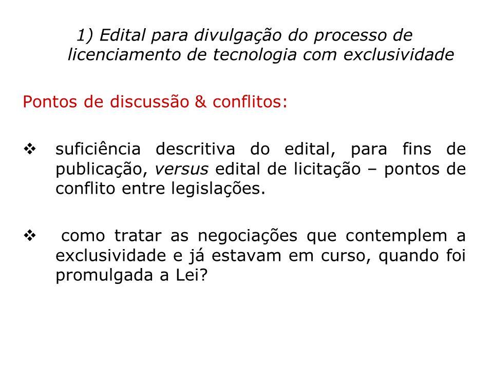 1) Edital para divulgação do processo de licenciamento de tecnologia com exclusividade