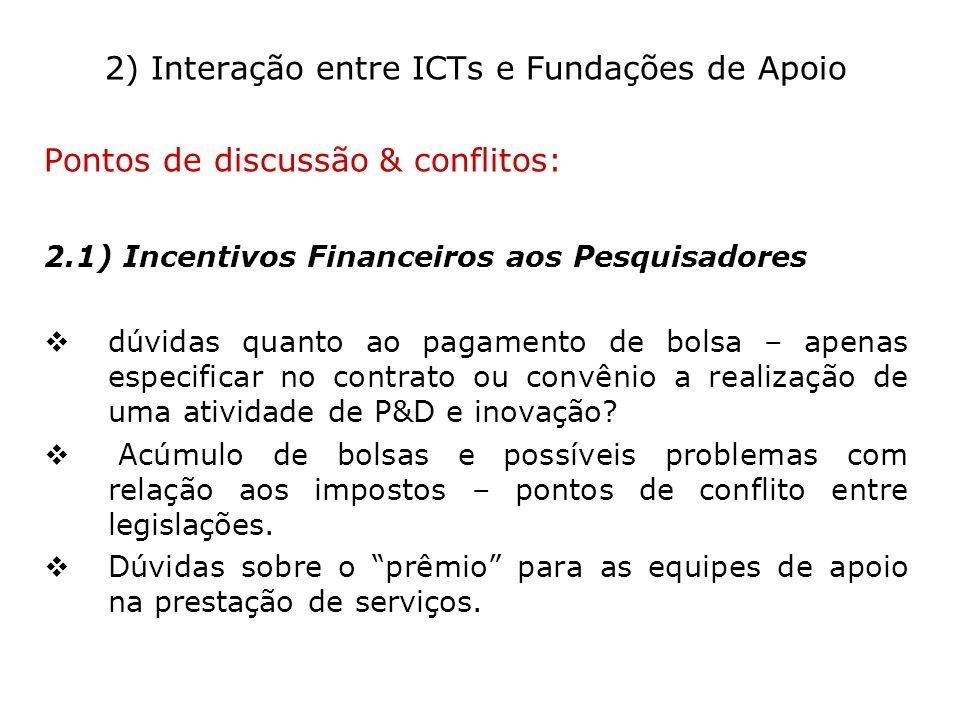 2) Interação entre ICTs e Fundações de Apoio
