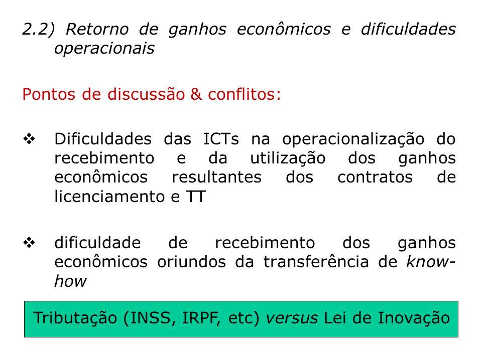 Tributação (INSS, IRPF, etc) versus Lei de Inovação