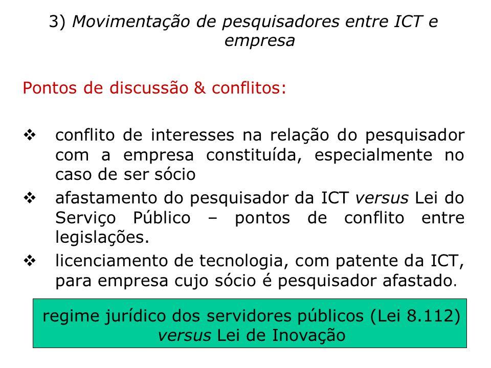 3) Movimentação de pesquisadores entre ICT e empresa