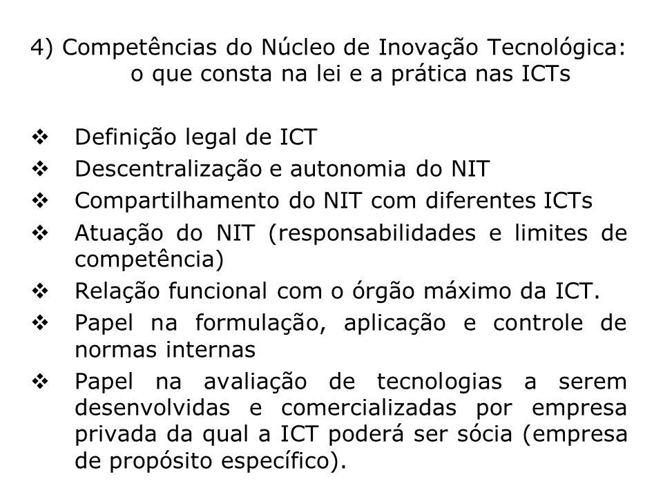 4) Competências do Núcleo de Inovação Tecnológica: o que consta na lei e a prática nas ICTs