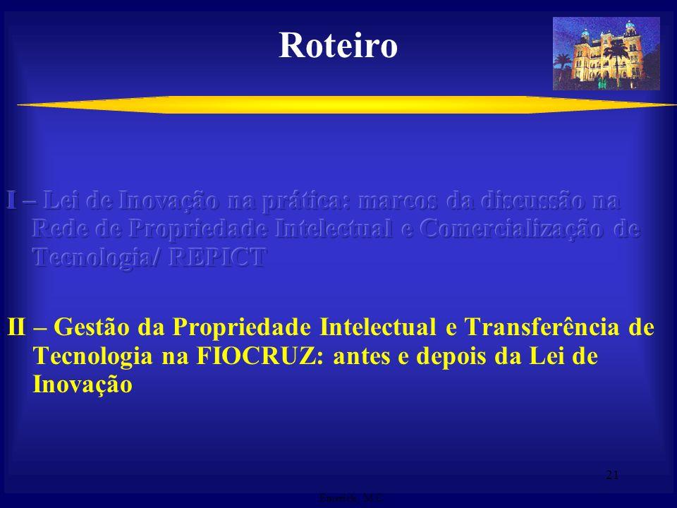 Roteiro I – Lei de Inovação na prática: marcos da discussão na Rede de Propriedade Intelectual e Comercialização de Tecnologia/ REPICT.