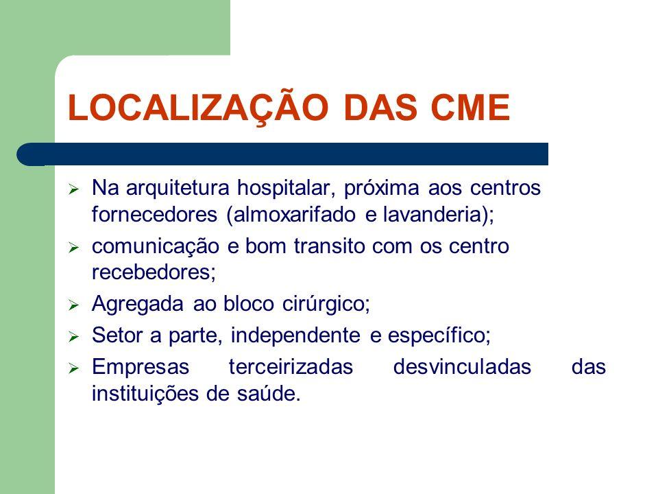 LOCALIZAÇÃO DAS CME Na arquitetura hospitalar, próxima aos centros fornecedores (almoxarifado e lavanderia);